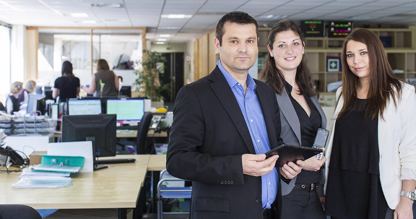 Yves Morel, Charlotte Dauzat-Peyre et Florine Bertoli Equipe dirigeante de Bazile Télécom